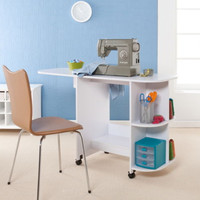 Foldable Sewing Table With Shelves Transitional Home Furniture White Finish New