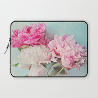 3 peonies Laptop Sleeve by Sylvia Cook Photography