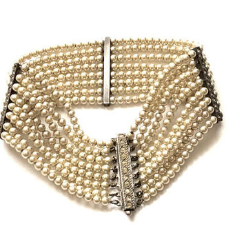 Art Deco Pearl Bracelet, Pearl, Multi Strand, Sterling Silver, Rhinestone, Antique, 1920s, Art Deco Jewelry, Wedding Jewelry
