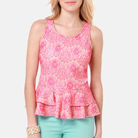 You be Frillin' Hot Pink Lace Top