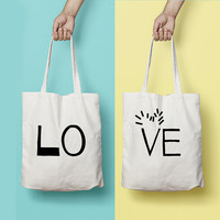 LOVE Tote Bag Canvas Funny Typhography Tote Half Piece - LOVE Bag - Market Bag Canvas - Printed Tote Bag Hand Drawn - Quote Tote Bag