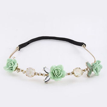 Snap-Chat Rose Flowers Headband