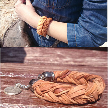 Rodeo Leather Womens Braided Bracelet - Genuine Lamb Leather - Bohemian Bracelet - Trendy Bracelet - Gypsy - Hippie - Native American - Her