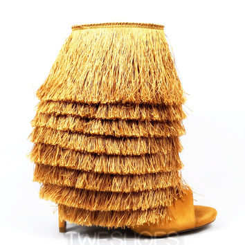 "Nelly Mambo Mustard Fringe Open Toe Ankle Boot Booties - 4.75"" Heels"
