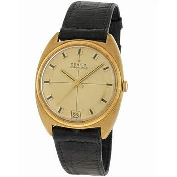 Pre-Owned Mens Zenith 18K Gold Automatic Watch - Cushion-Shaped Case