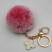 Pom-Perfect pink REX Rabbit frosted fur pom pom ball keychain or bag pendant with flower charm