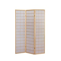 Wooden Room Divider Japanese Shoji Screen in Natural 3-Panel