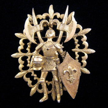 Rare Hattie Carnegie 'Joan of Arc' Goldtone Figural Brooch - Book Reference