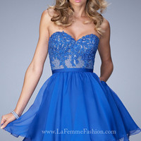 La Femme Strapless Sweetheart Homecoming Dress