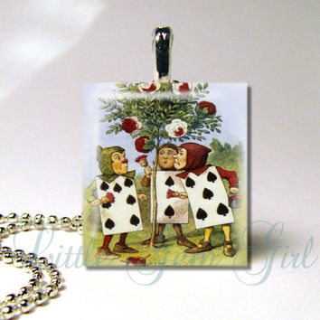 Scrabble Pendant - Vintage Alice in Wonderland Painting the Roses Red - Red Queen - Necklace Pendant (ball chain sold separately)