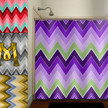 personalized field purple lavender chevron shower curtain bathroom decor fabric kids bath white black custom duvet cover rug mat window