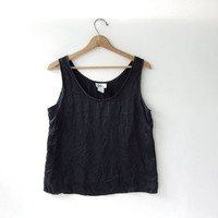vintage black silk tank top / boxy silk camisole / black silk top