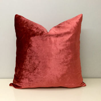 Peachy Pink Velvet Pillow Cover,Throw Pillow,Decorative Pillows,Velvet Pillow,Velvet Pillows,Pink Velvet Accent Pillow,Velvet Cushion Covers