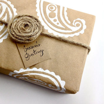 Paisley Wrapping Paper - Gift Paper - Hand Printed White ink on Recycled Brown Kraft Paper
