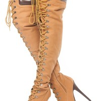 Tan Faux Nubuck Stylish Thigh High Chunky Platform Boots @ Cicihot. Booties spell style, so if you want to show what you're made of, pick up a pair. Have fun experimenting with all we have to offer!