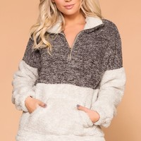 Warm And Toasty Charcoal Sherpa Tunic Pullover Top