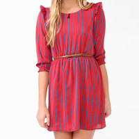 Vertical Striped Dress w/ Belt