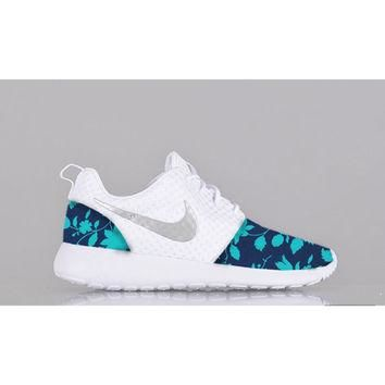 New Nike Roshe Run Custom Blue Light Blue White Floral Edition Womens Shoes Sizes 5