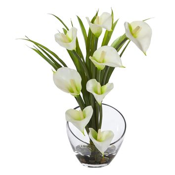 Artificial Flowers -15.5 Inch Cream Calla Lily And Grass In Vase Silk Flowers
