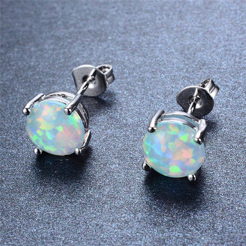 925 Sterling Silver Four-Claw Stud Earrings for Women Fashion White Blue Pink Purple Fire Opal Earrings Wedding Jewelry Ear0545