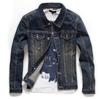 Men Denim Casual Outerwear Jackets England Style Jeans Jakcets