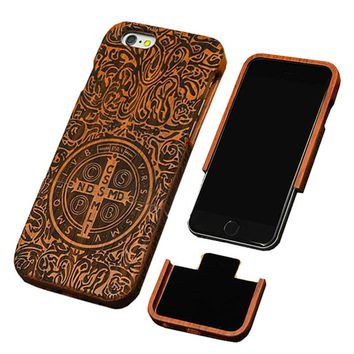 Natural Wood Case For iPhone 7 6 6s Plus SE 5 5s Cover Genuine Real Carving Rosewood Bamboo Cherry Blank Wooden Phone Cases Capa