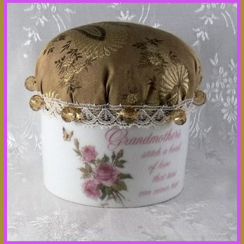 PINCUSHION Victorian Pin Keep Porcelain by TheMaineCoonCat on Etsy