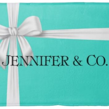Tiffany Blue Box Personalized Memory Foam Bath Mat, or Woven Dolby Rug