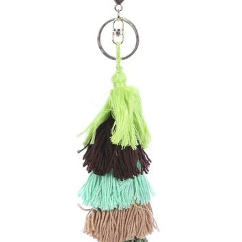 Green Layered Cotton Yarn Bag Accessory Key Chain