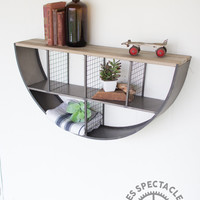 Metal Semi-Circle Wall Shelf With Wooden Top