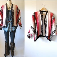 Vintage Mexican cocoon jacket / mexican Southwest blanket / oversized shrug / Fall Winter / open size