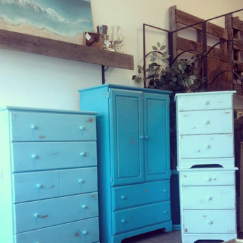 4 Piece Chalk Painted And Distressed Ombre Inspired Bedroom Set: Dresser,  Armoire, 2