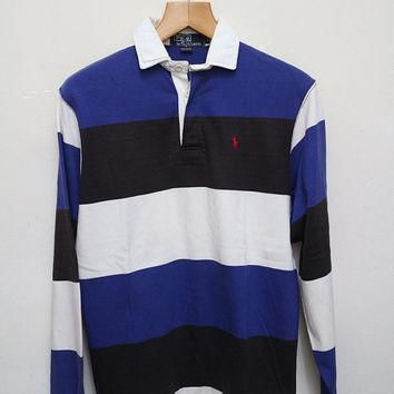 Vintage POLO RALPH LAUREN Polo Shirt Stripes Blue + Black + White Color Size S