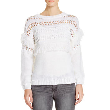 JOA Womens Open Stitch Fringe Crewneck Sweater