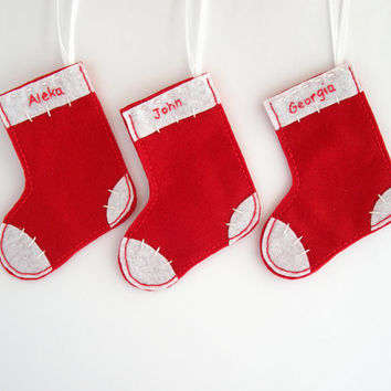 christmas stockings custom holiday decor felt ornaments in red and white set
