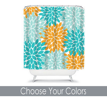 Shower Curtain CUSTOM You Choose Colors Aqua Turquoise Orange Flower Burst Dahlia Pattern Bathroom Bath Polyester Made in the USA