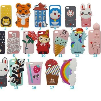 New 3D Cartoon Case for iPhone 8 6 7 6S Plus 5 5G 5s SE Rainbow Cloud Duck Cat Pig Hello Kitty Lilo Dog Silicone Phone Case