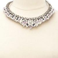Multi Faceted Stone & Pearl Collar Necklace by Charlotte Russe