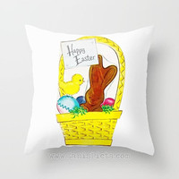 Vintage Easter Chocolate Bunny 16x16 Graphic Print Throw Pillow Cover Decorative Home Decor Art Baby Rabbit Eggs Yellow Chick Grass Basket