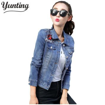 2017 Denim Jacket Women Fashion Embroidered Oversize Jeans Jackets lips Sequins Coat