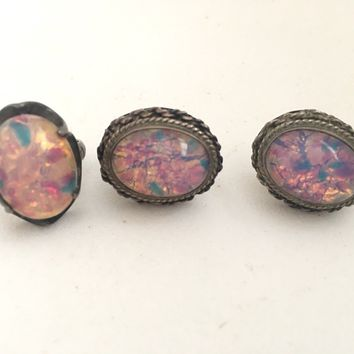 Vintage 1940's- 1950's Foil Opal Sterling Earrings & Ring Set - Signed AC