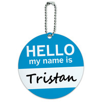 Tristan Hello My Name Is Round ID Card Luggage Tag