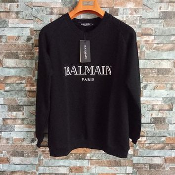 """Balmain"" Unisex Simple Fashion Letter Print Long Sleeve Sweater Couple Loose Casual Pullover Tops"