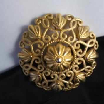 Trifari Signed Brooch - Vintage Ornate Filigree Jewelry - Statement Designer Signed Jewelry - 1960's 1970's Rare Collectible