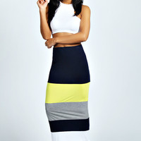 Rhianah Colour Block Maxi Skirt