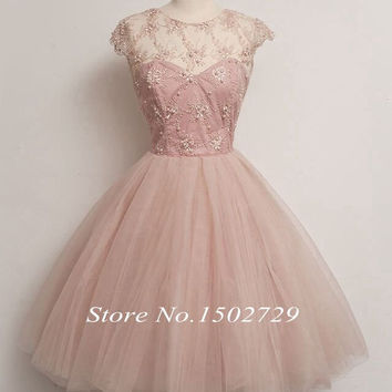 Vintage 50's Short Party Cocktail Dress Tea Length Cap Sleeves Pink Tulle Ball Gown Prom Dresses Homecoming Graduation Gowns
