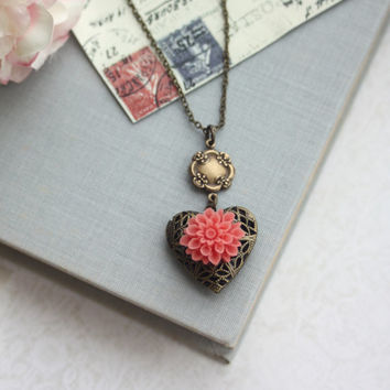 Coral Chrysanthemum Flower Heart Locket Necklace. BFF. Anniversary For Wife. Bridesmaids Gift. Coral Wedding. Best Friends. Sister, Mother