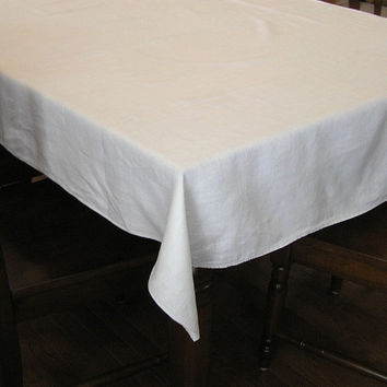 Vintage 1960s Plain White Linen Tablecloth, 64 x 51 Inches, Very Nice, ~~by Victorian Wardrobe