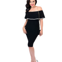 Retro Style Black & White Trim Ruffled Off The Shoulder Fitted Wiggle Dress