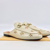 Gucci Princetown embroidered leather slipper White